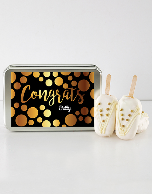 bakery: Congrats Girl Cake on a Stick in Personalised Tin!