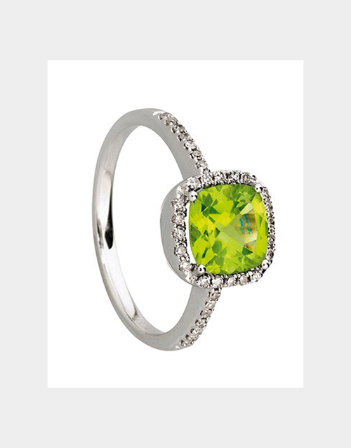 rings: Square Peridot Pave Set Engagement Ring!