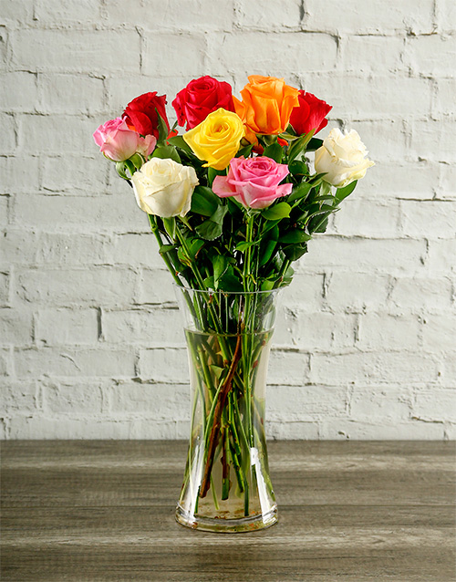 roses: Mixed Roses in Flair Vase!