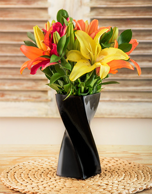 vase: Mixed Lilies in a Black Twisty Vase!