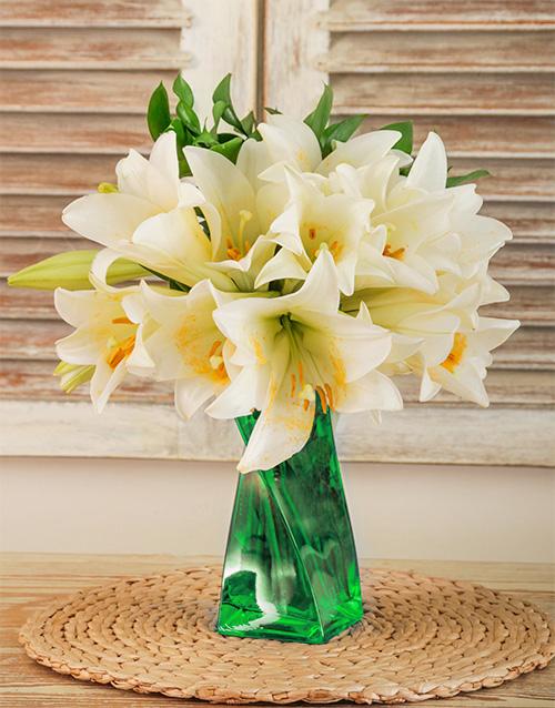 vase: St Joseph Lilies in a Green Twisty Vase!