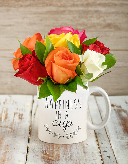 roses: Mixed Roses in Happiness Cup!