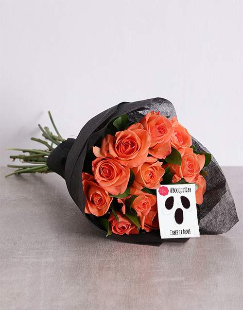 colour: Orange Rose Halloween Bouquet!