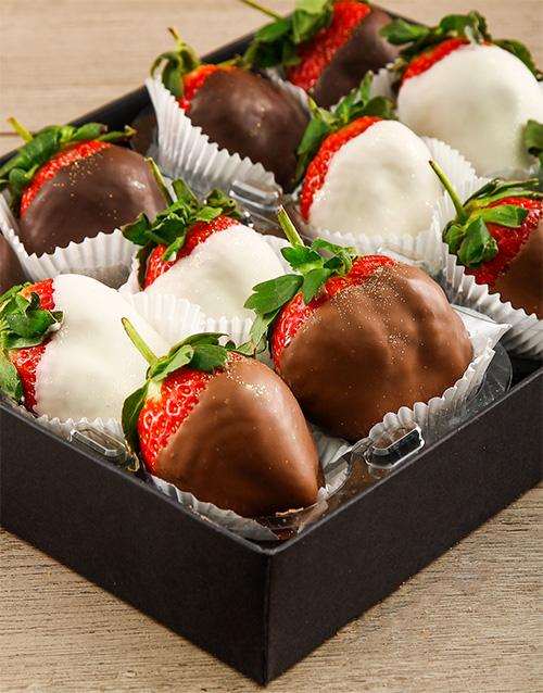 dipped-strawberries: Milk Dark and White Chocolate Combo Box!