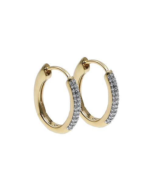 christmas: 9KT Yellow and White Gold Diamond Huggie Earrings!