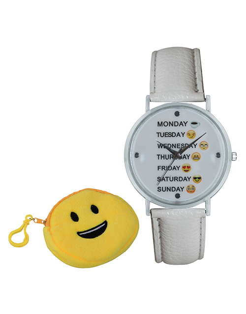 mothers-day: Emoji Cyber Smiley Weekday White Watch!