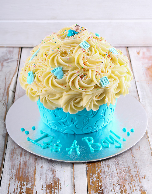 bakery: New Arrival Baby Boy Giant Cupcake!