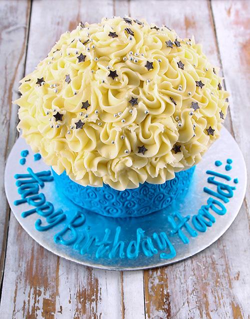 bakery: Blue Happy Birthday Giant Cupcake!