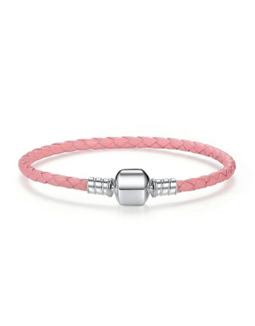 bracelets-and-bangles: Silver And Pink Leather Charm Bracelet !