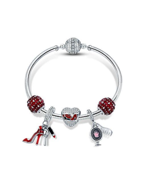pandora: Silver Red Lovely Woman Charm Bracelet!