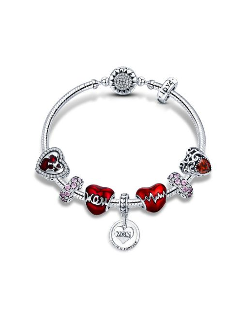 pandora: Silver And Red Mother Love Charm Bracelet!