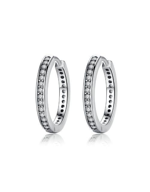 earrings: Silver Round Hoop Cubic Earrings!