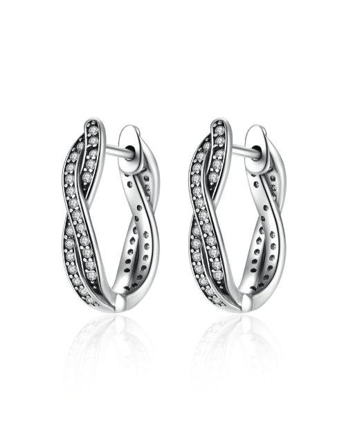 earrings: Silver Cubic Twisted Hoop Earrings!