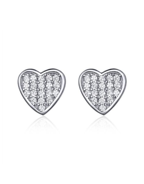 earrings: Silver Pave Heart Cubic Design Studs !