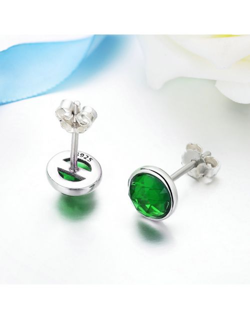 earrings: Silver Green May Cubic Birthstone Studs!