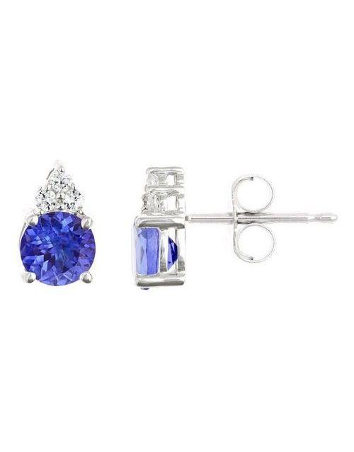 christmas: 9KT Tanzanite With 3 Diamonds Earrings !