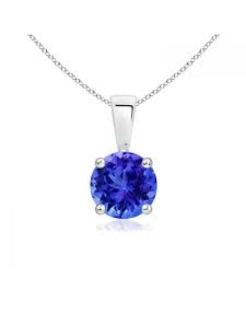 necklaces: Silver Claw Set Round Tanzanite Necklace!