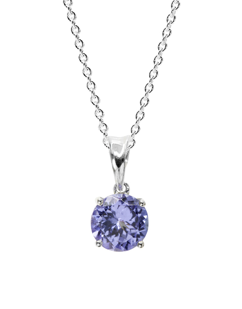 christmas: 9KT 0.56ct Round 4 Claw Tanzanite Necklace!