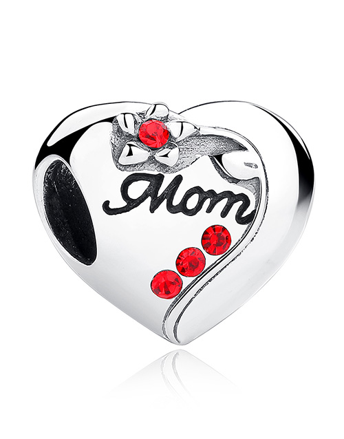 mothers-day: Silver 925 Heart Mom Red Cubic Charm!