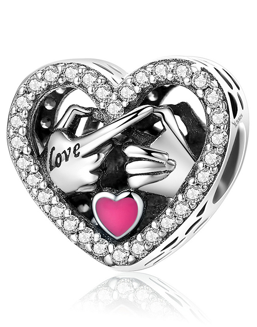 pandora: Silver 925 Heart Family Pink Enamel and Cubic!