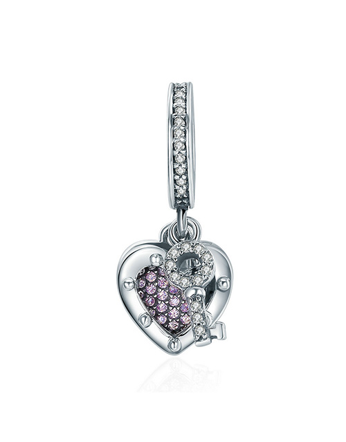 anniversary: Silver Cubic Dangle Heart and Key Charm!