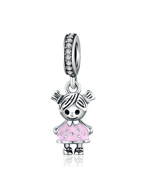 baby: Silver Little Girl Dangle Light Pink Enamel Charm!