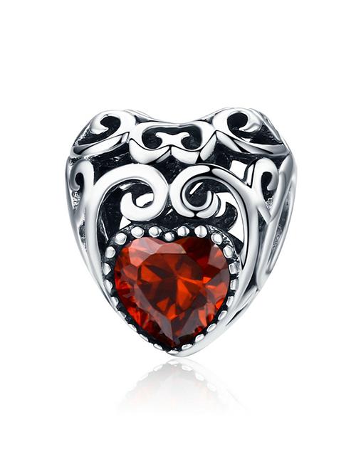 pandora: Silver Filigree Heart January Birthstone Charm!