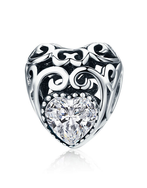 christmas: Silver Filigree Heart April Birthstone Charm!