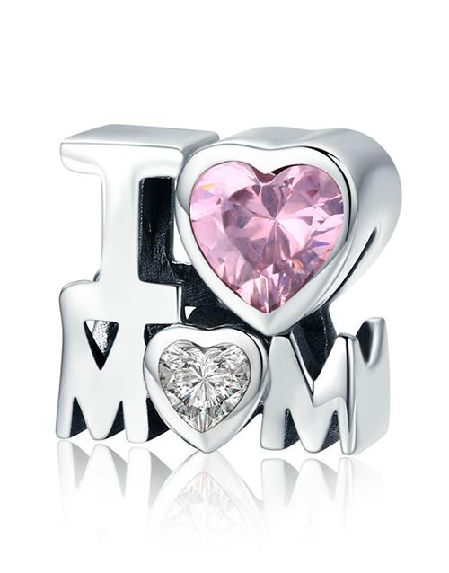 pandora: Silver Pink Cubic Heart I love Mom Charm!
