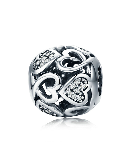 pandora: Silver Filigree Heart and Cubic Round Charm!