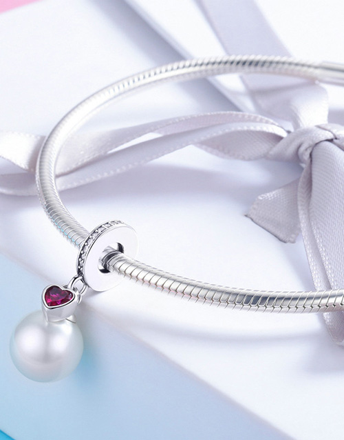 pandora: Silver Pearl and Red Cubic Heart Charm!
