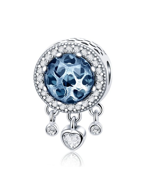 pandora: Silver Blue Glass Charm with Dangle Hearts!