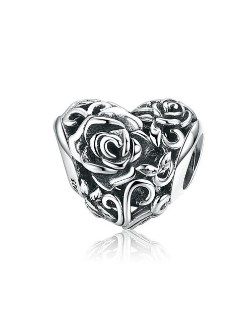 pandora: Silver Heart Rose Design Charm!
