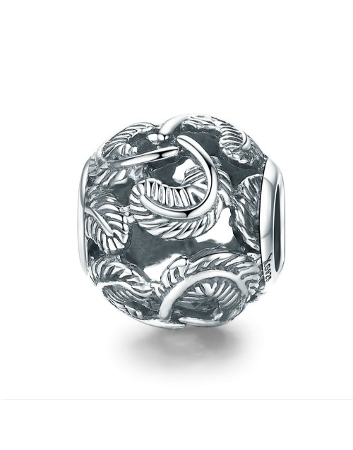pandora: Silver Round Feather Design Charm!