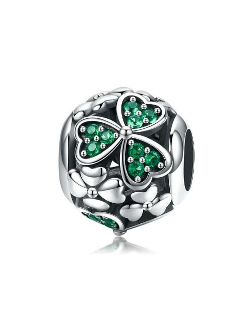 birthday: Silver Green Cubic Filigree Heart Round Charm!