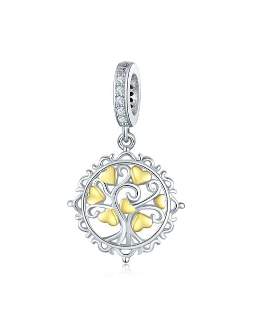 pandora: Silver and YG Plated Hearts Charm!