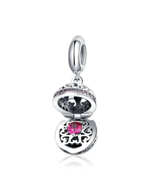 pandora: Silver Filigree And Pink Cubic Surprise Charm!