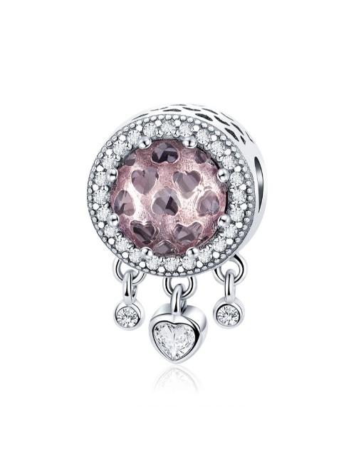pandora: Silver Rose Glass And Dangle Hearts Charm!