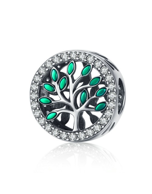 charms: Silver Round Cubic Tree Of Life Charm!