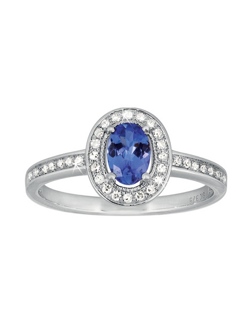 rings: 9ct White Gold Tanzanite Diamond Ring 0.52ct!
