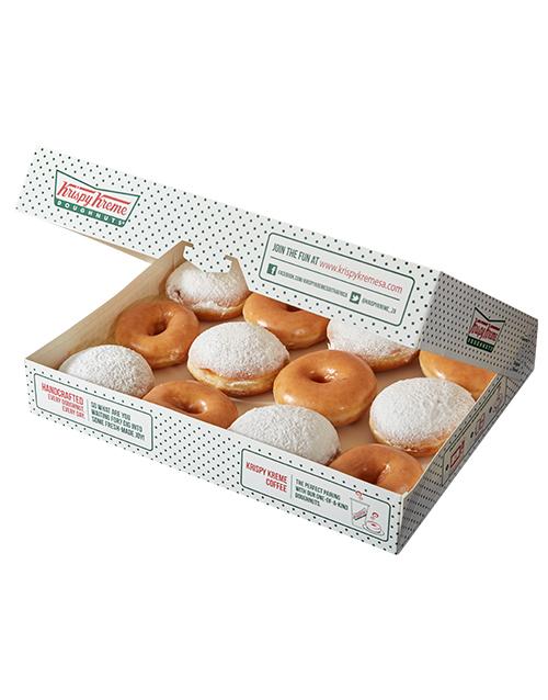 doughnuts: Krispy Kreme Original Glazed and Blueberry Combo!