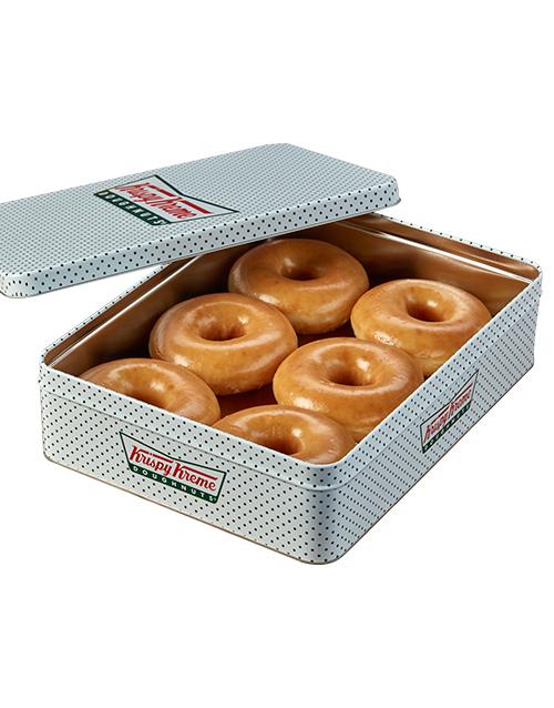 doughnuts: 6 Original Krispy Kreme Glazed Doughnuts in a Tin!