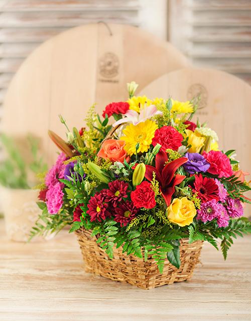 basket: Mixed Flowers in Brown Basket!