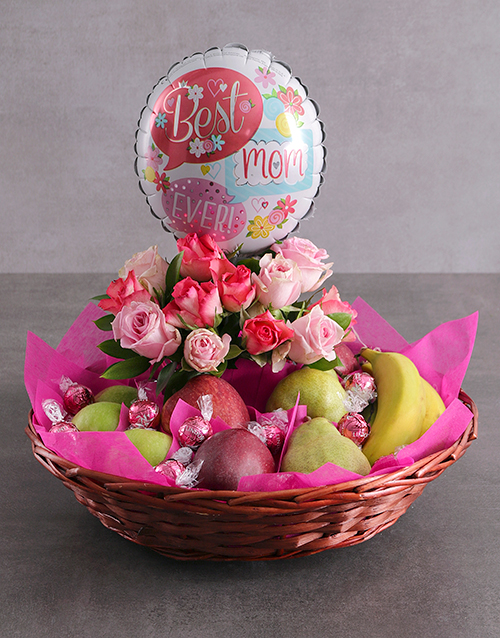 gourmet: Rose and Fruit Basket for Mom!