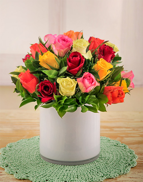 roses: Mixed Roses in a White Cylinder Vase!