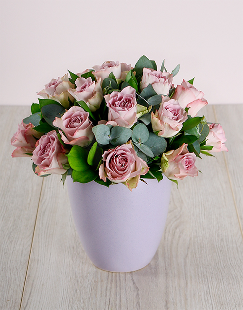 roses: Lilac Roses in Ceramic Pot!