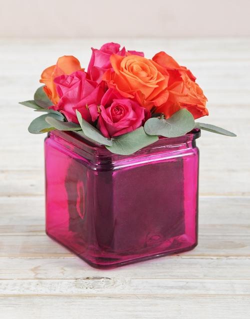 vase: Roses in Square Pink Vase!