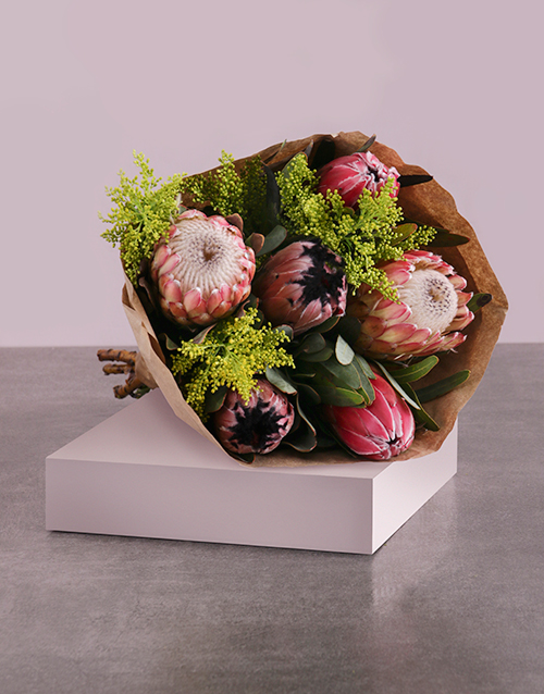 mothers-day: Protea Mix Bouquet in Craft Wrapping!