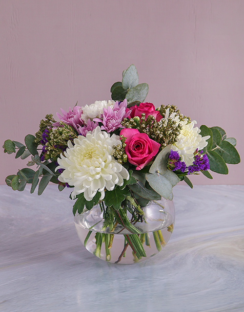 colour: Mothers Day Blooms In Round Vase!