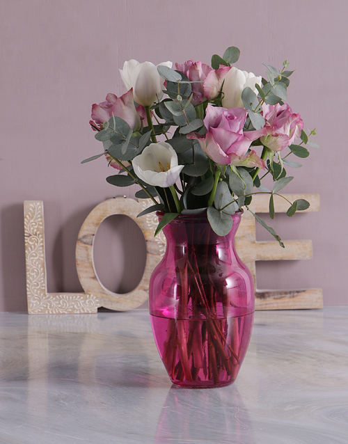 flowers: Mothers Day Tulips And Roses In Pink Vase!